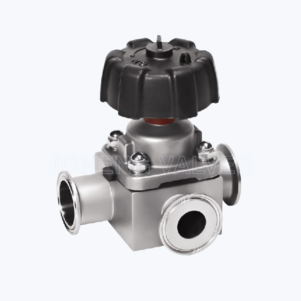 Sanitary 3 way T shape forged diaphragm valves