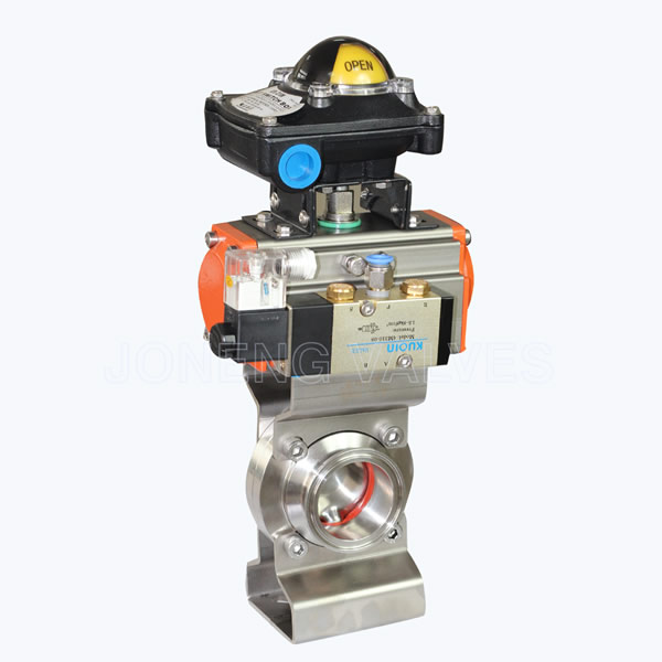 Sanitary Aluminum actuated butterfly valves with limit switch