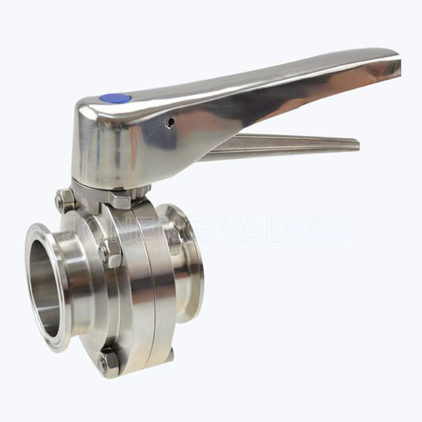 Sanitary triclover butterfly valves with level handle