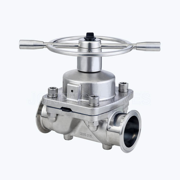 Sanitary Two way diaphragm block valves with SS handle