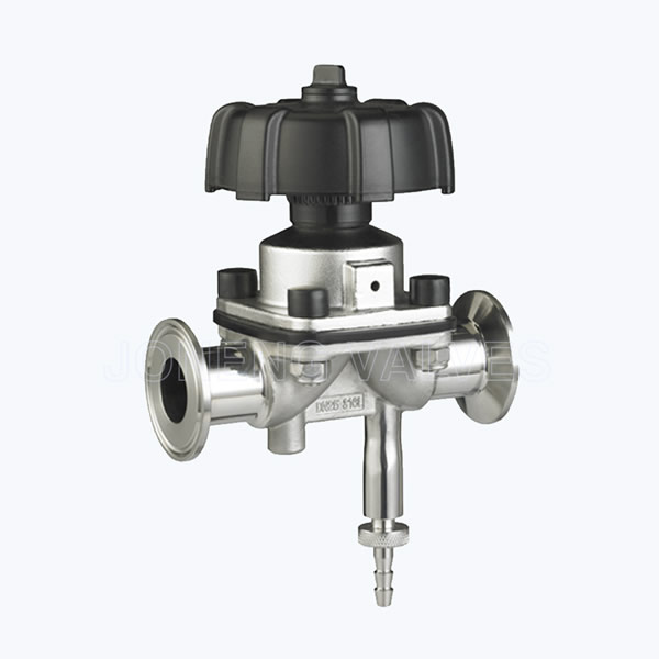 Sanitary two way diaphragm valves with draining