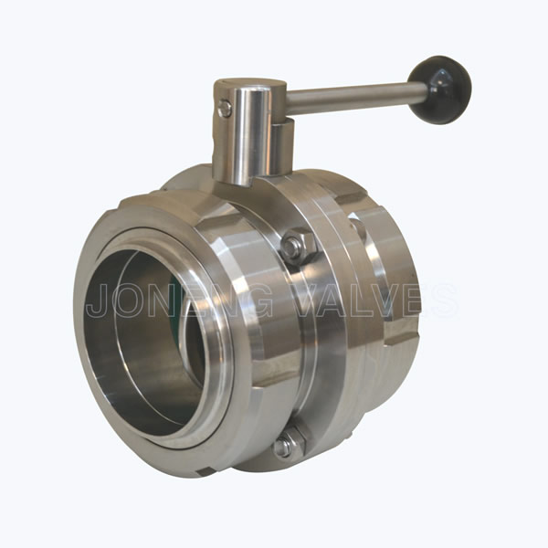 Sanitary union connection butterfly valves